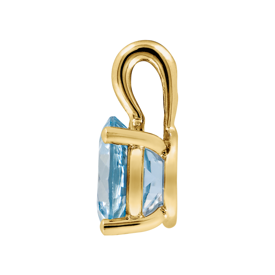 Pendant 3 Prongs Aquamarine blue in Yellow Gold