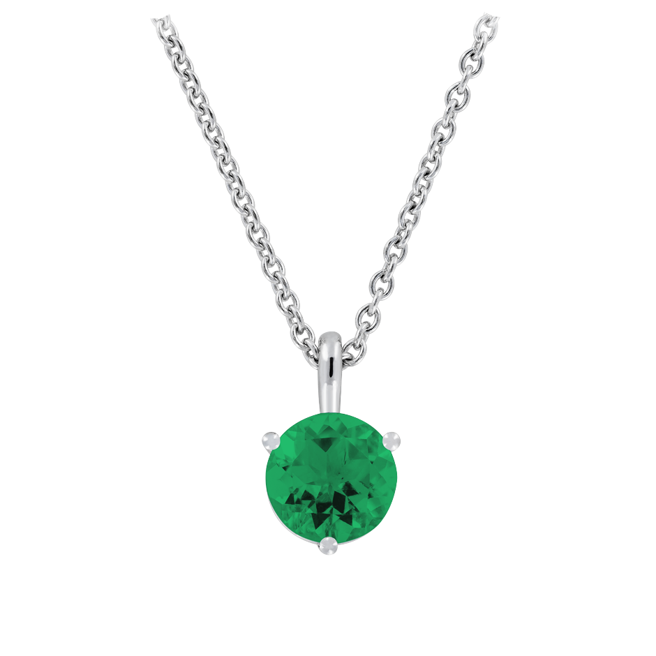 Pendant 3 Prongs Emerald green in Platinum