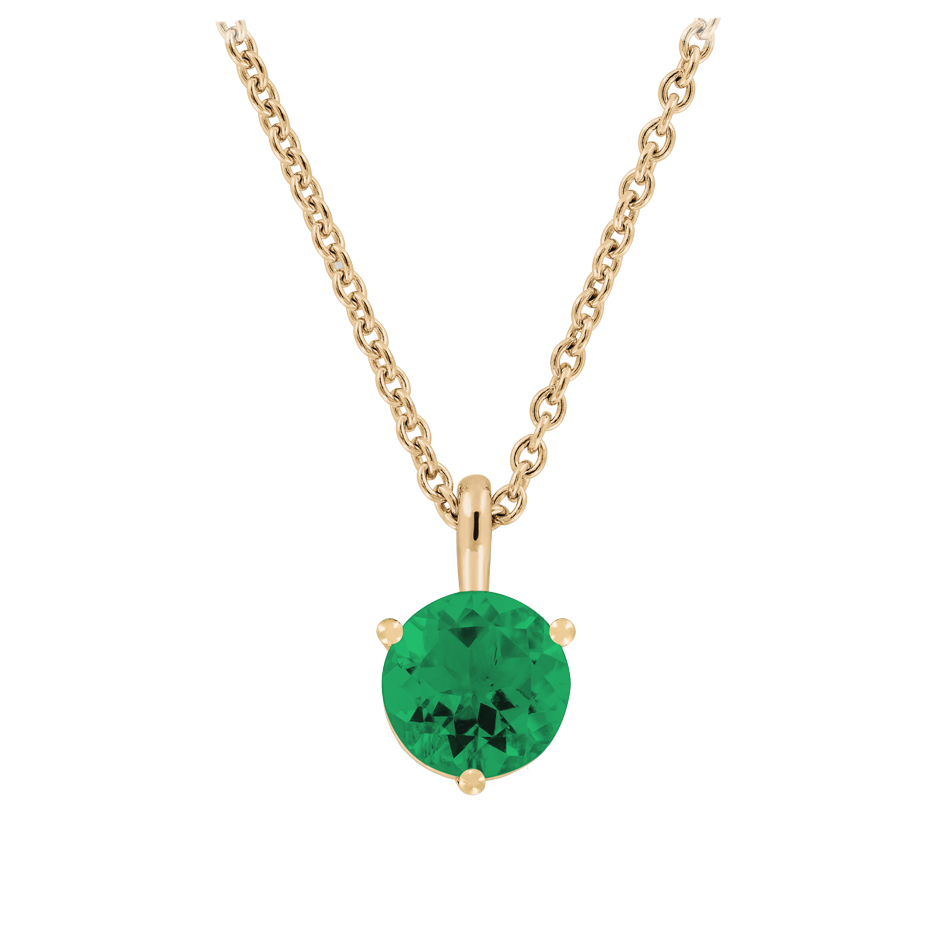 Pendant 3 Prongs Emerald green in Rose Gold