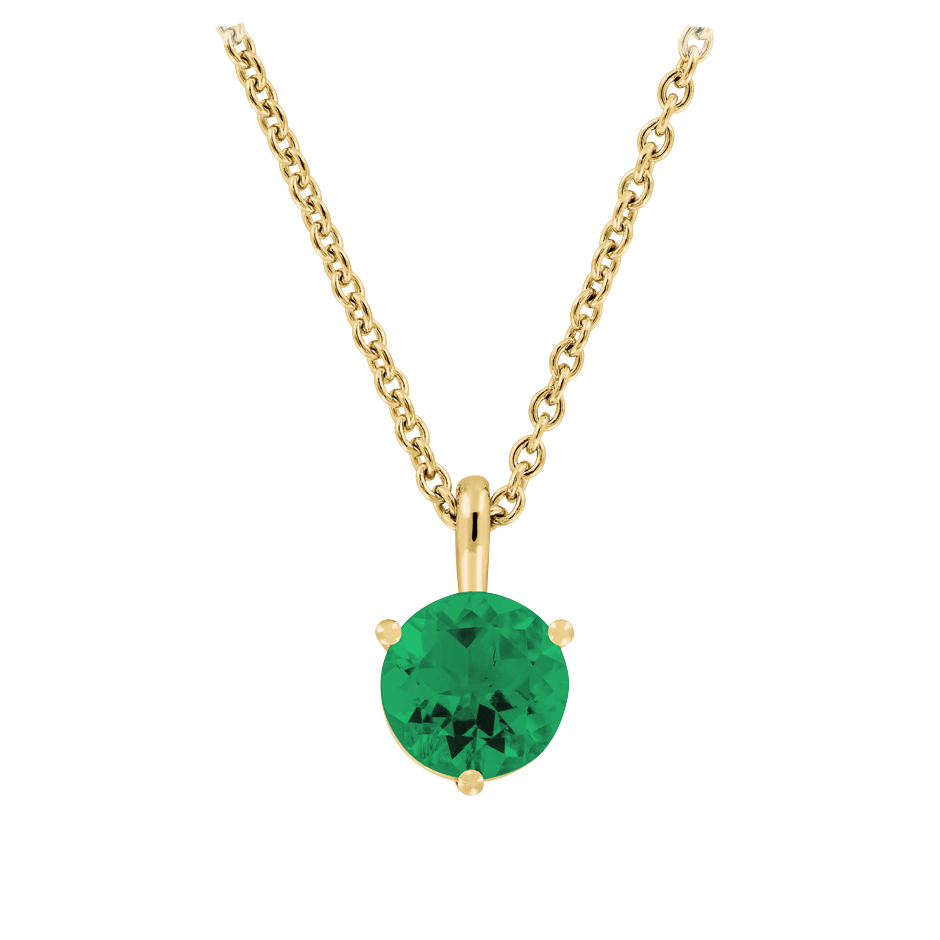 Pendant 3 Prongs Emerald green in Yellow Gold
