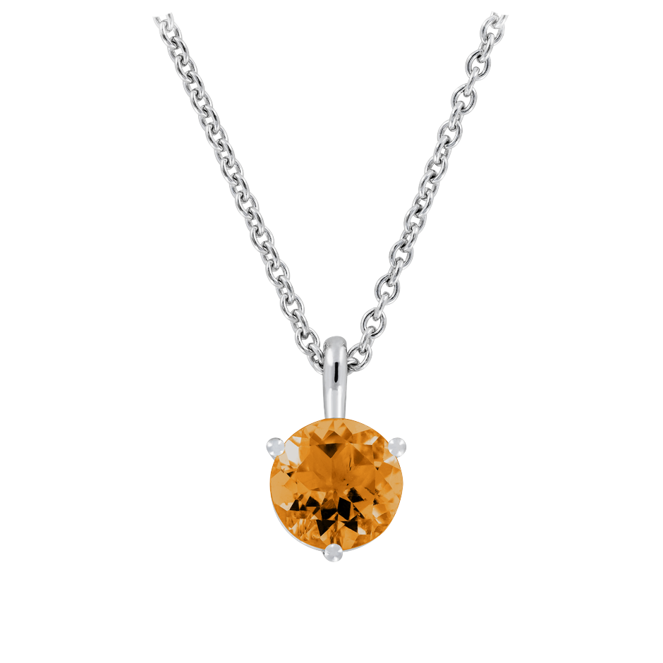 Pendant 3 Prongs Madeira Citrine orange in Platinum