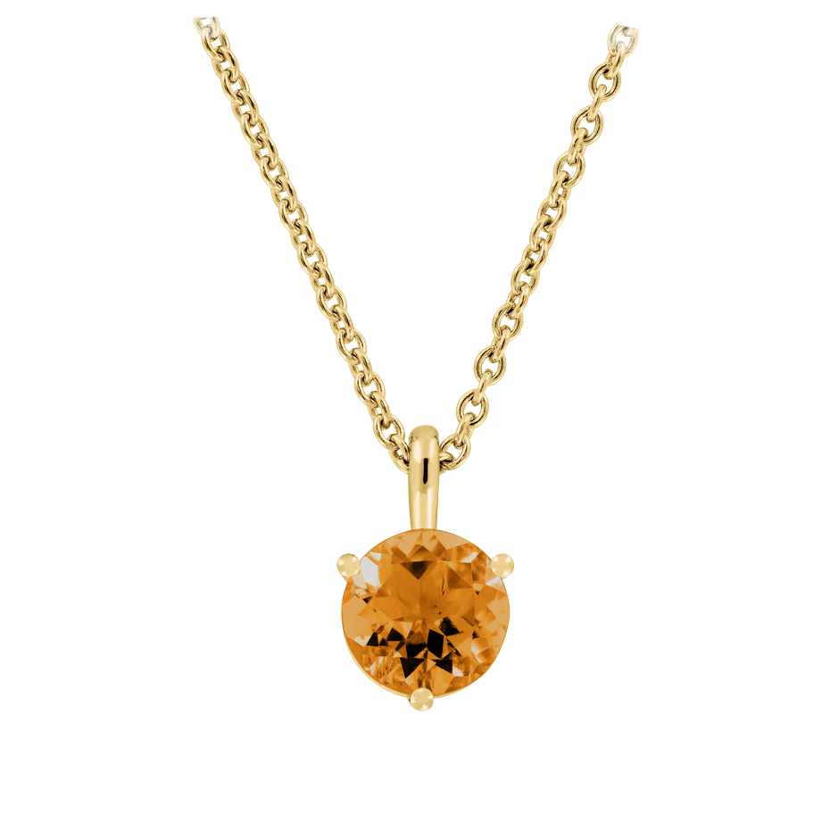 Pendant 3 Prongs Madeira Citrine orange in Yellow Gold