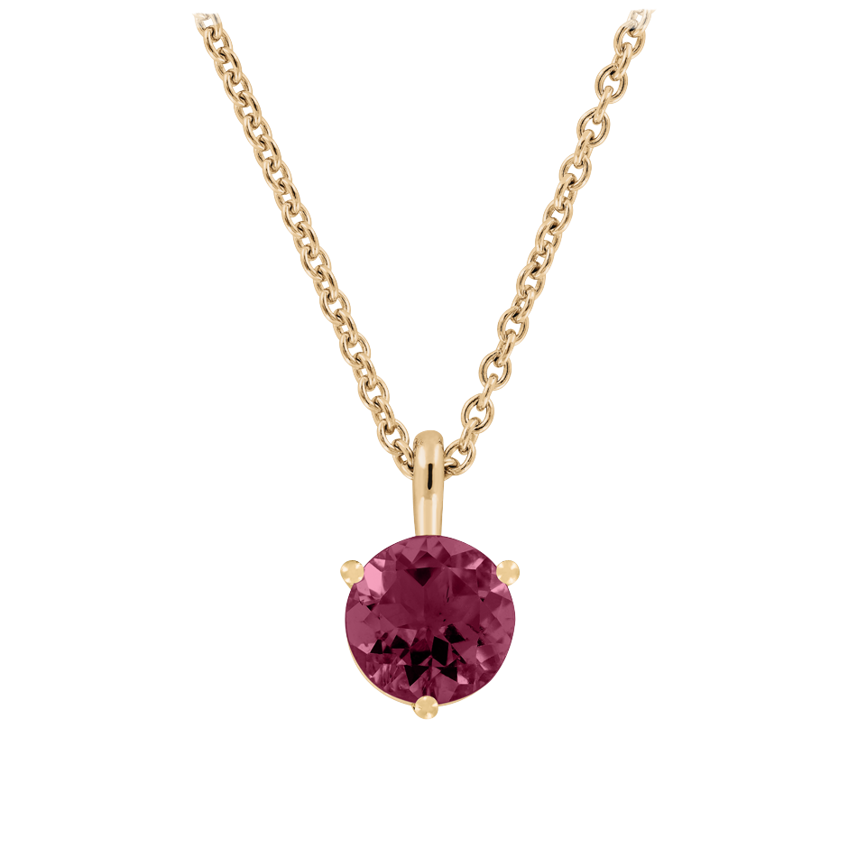 Pendant 3 Prongs Rhodolite red in Rose Gold