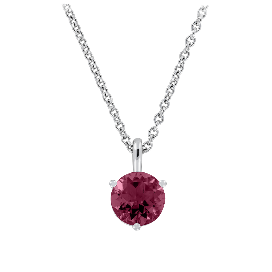 Pendant 3 Prongs Rhodolite red in White Gold