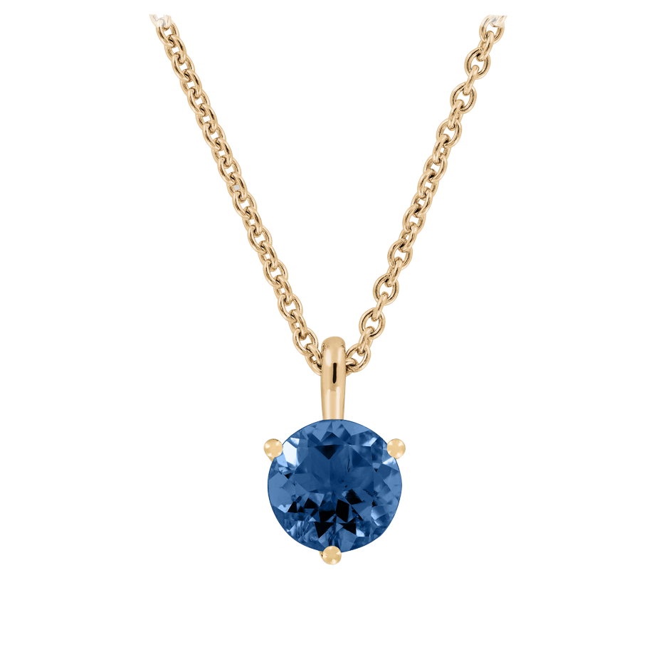 Pendant 3 Prongs Sapphire blue in Rose Gold