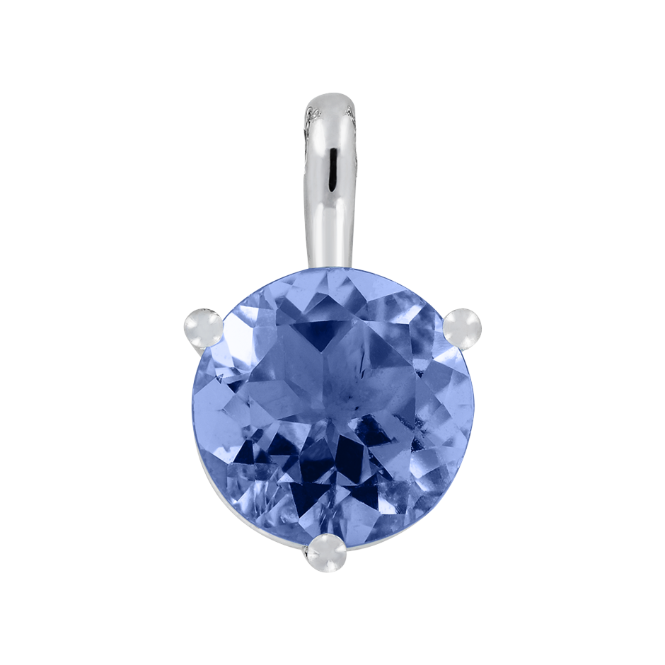 Pendant 3 Prongs Tanzanite blue in Platinum