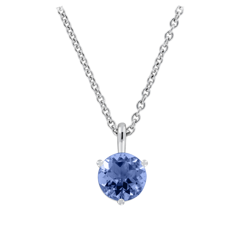 Pendant 3 Prongs Tanzanite blue in White Gold