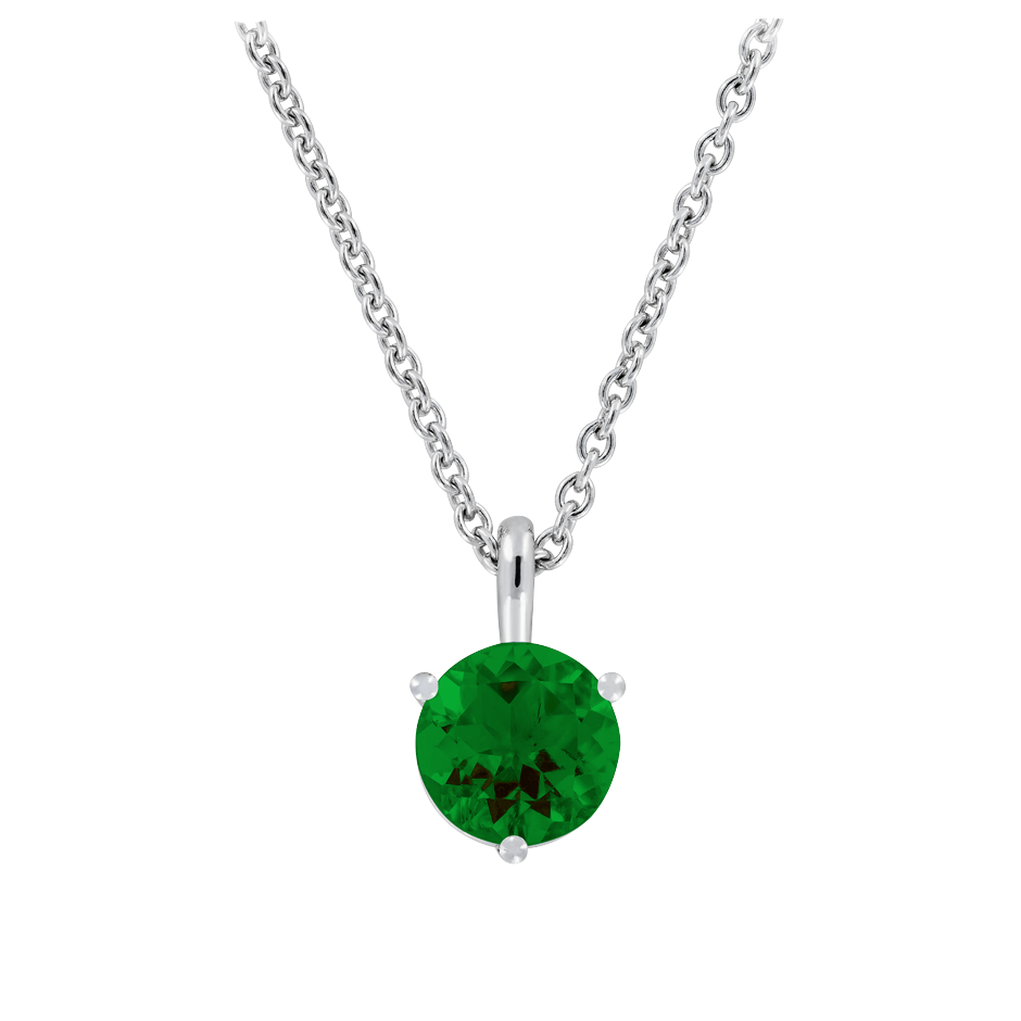 Pendant 3 Prongs Tourmaline green in White Gold
