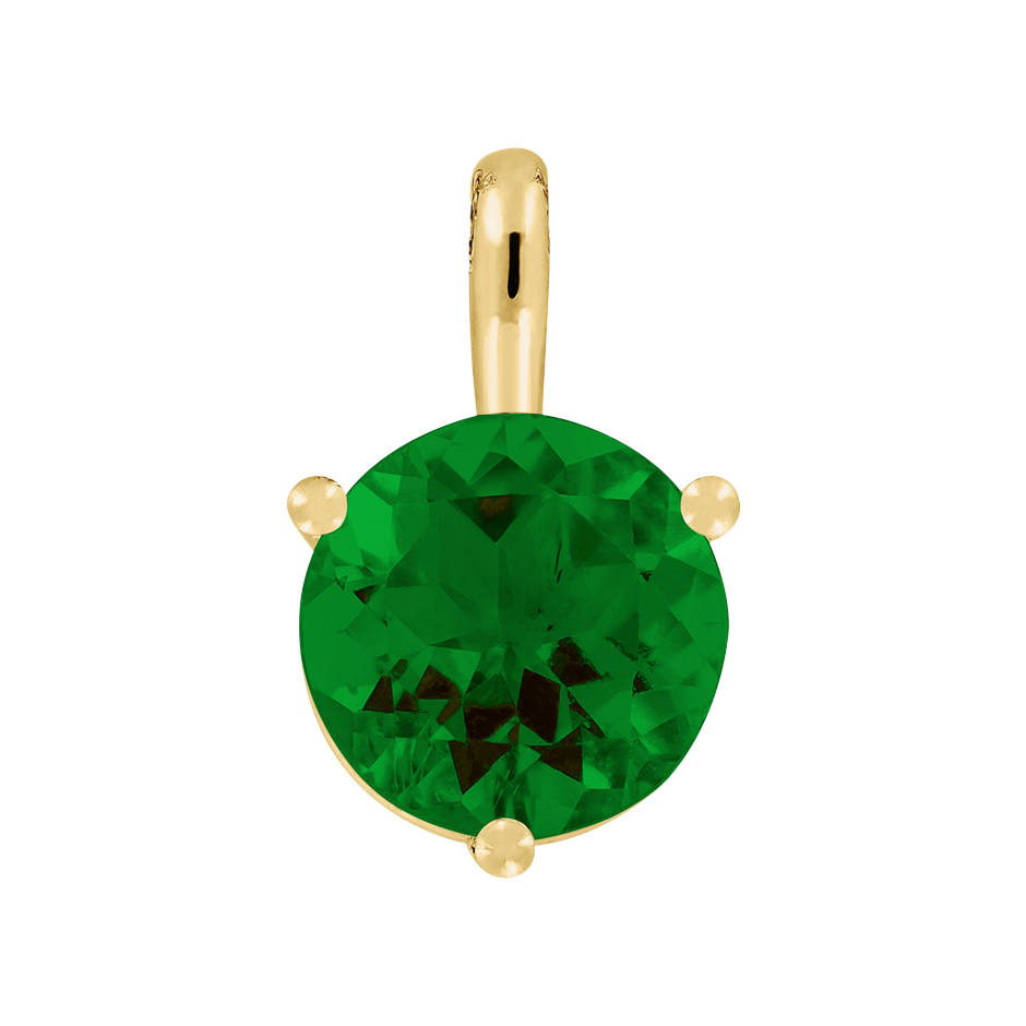 Pendant 3 Prongs Tourmaline green in Yellow Gold