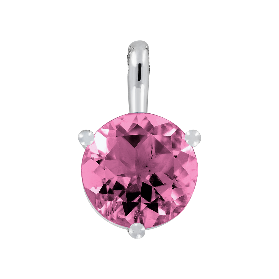 Pendant 3 Prongs Tourmaline pink in Platinum