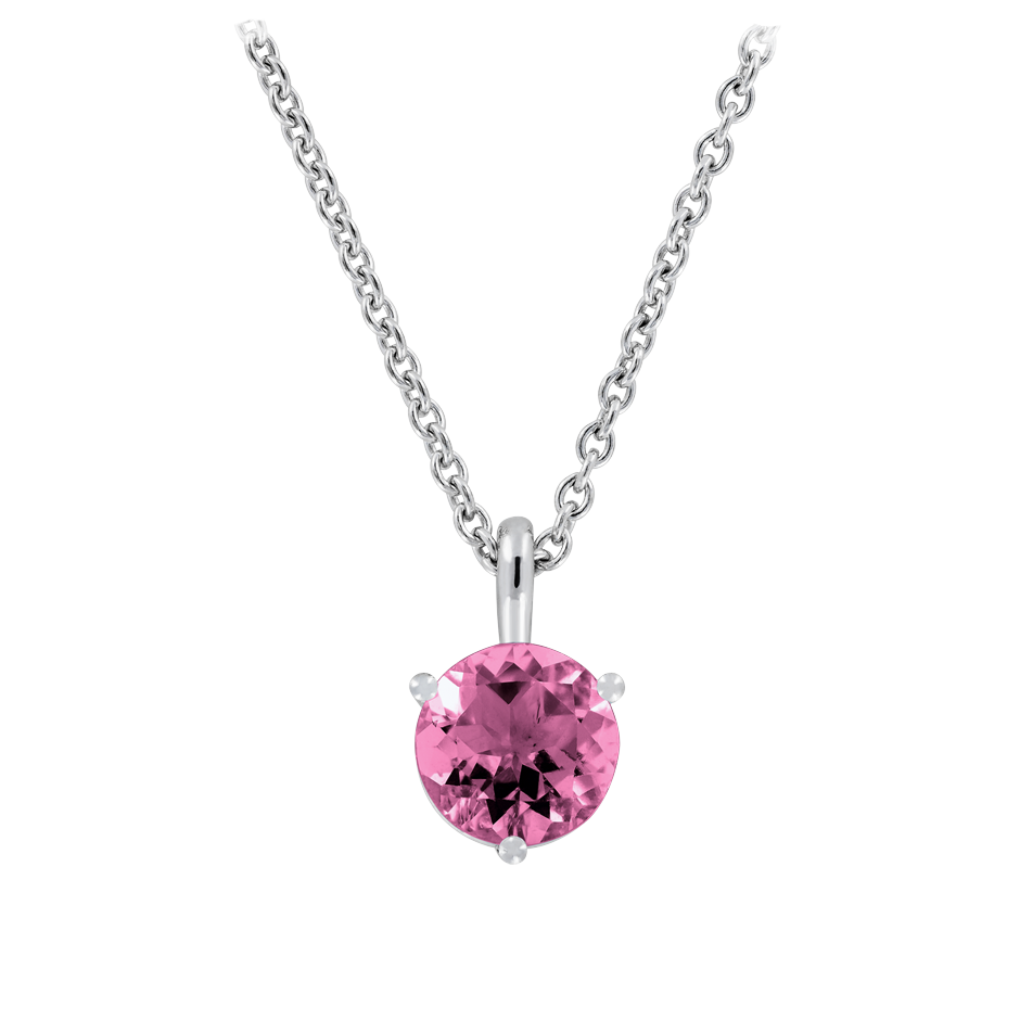 Pendant 3 Prongs Tourmaline pink in White Gold