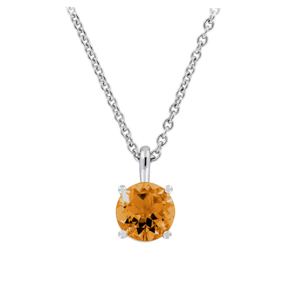 Pendant 4 Prongs Madeira Citrine orange in White Gold