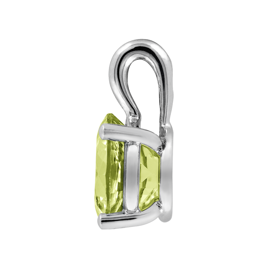Pendant 4 Prongs Peridot green in Platinum