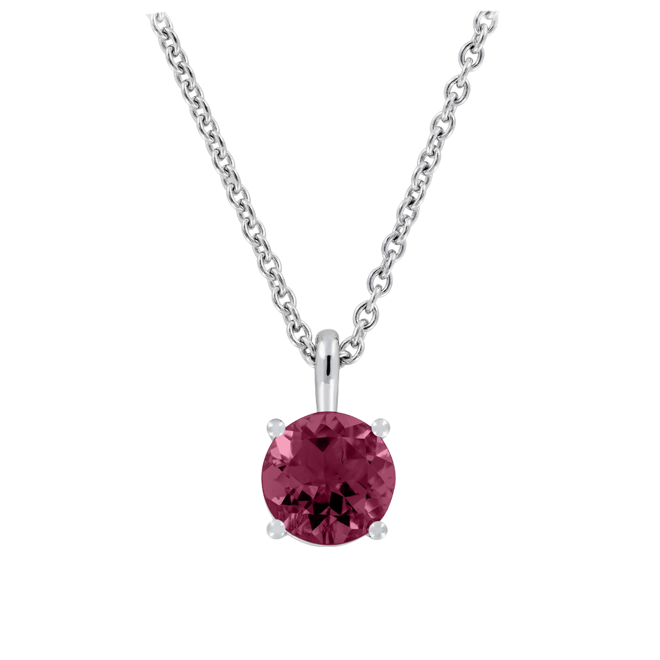 Pendant 4 Prongs Rhodolite red in Platinum