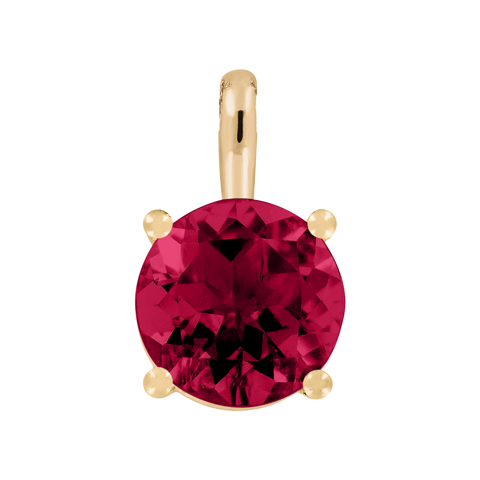 Pendant 4 Prongs Ruby red in Rose Gold