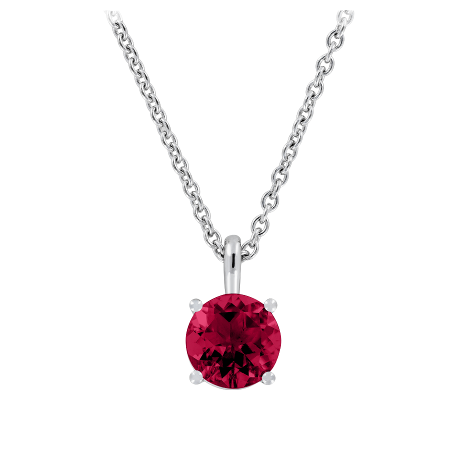 Pendant 4 Prongs Ruby red in White Gold