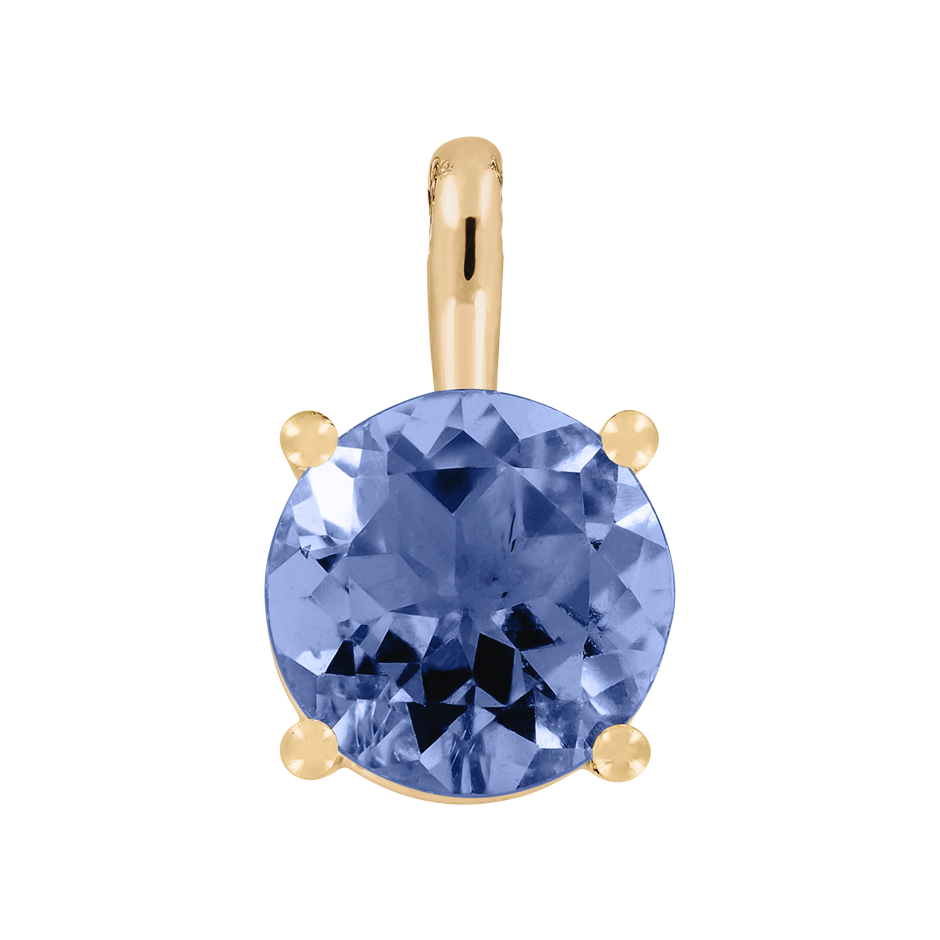 Pendant 4 Prongs Tanzanite blue in Rose Gold