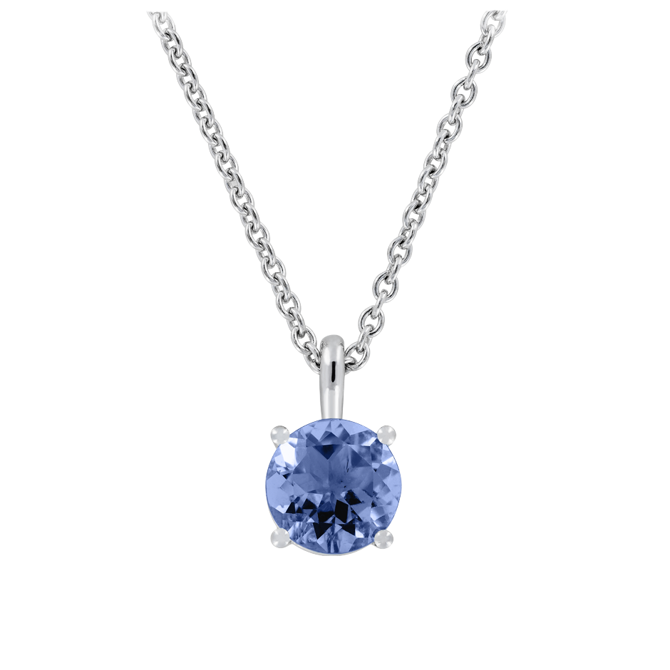 Pendant 4 Prongs Tanzanite blue in White Gold