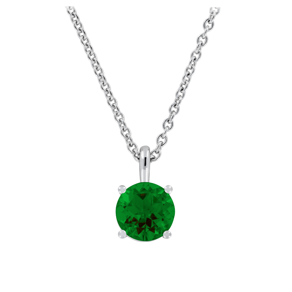 Pendant 4 Prongs Tourmaline green in Platinum
