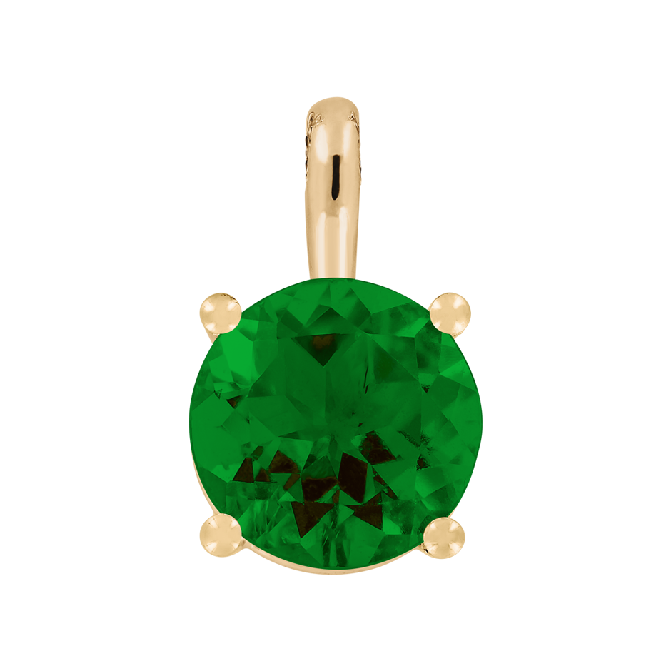 Pendant 4 Prongs Tourmaline green in Rose Gold