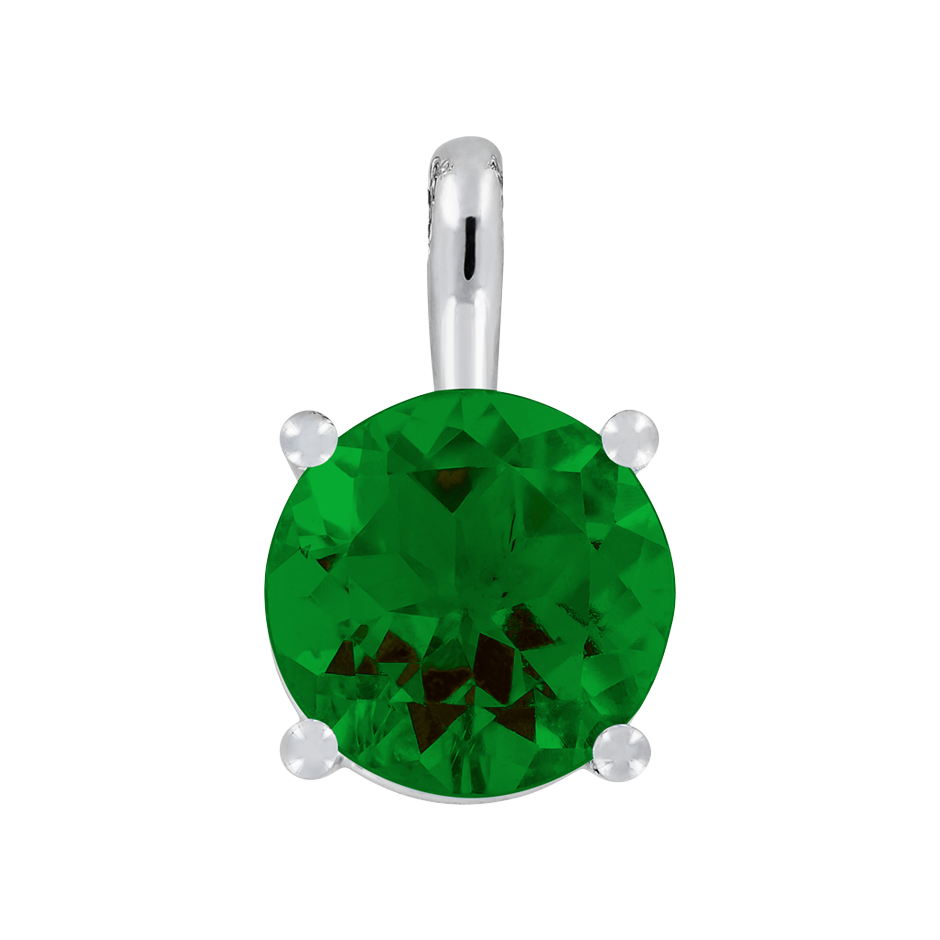 Pendant 4 Prongs Tourmaline green in White Gold