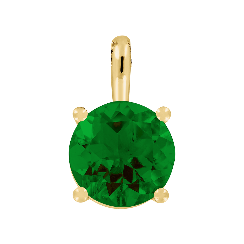 Pendant 4 Prongs Tourmaline green in Yellow Gold
