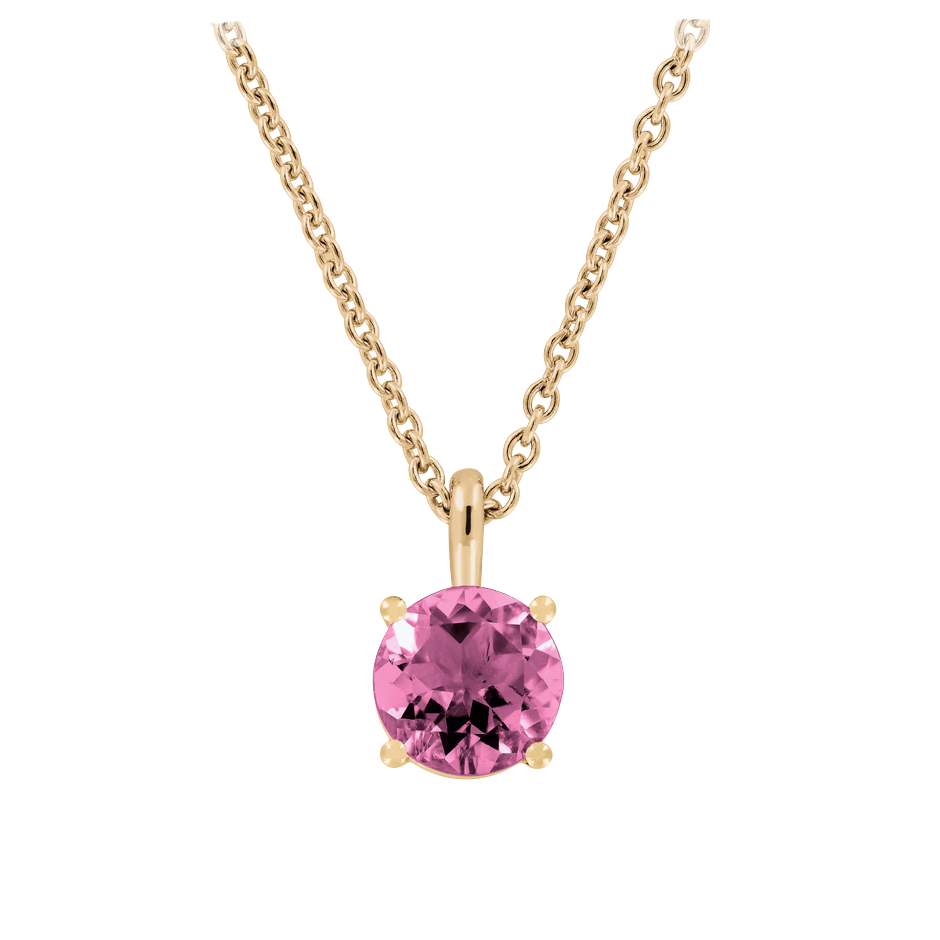Pendant 4 Prongs Tourmaline pink in Rose Gold
