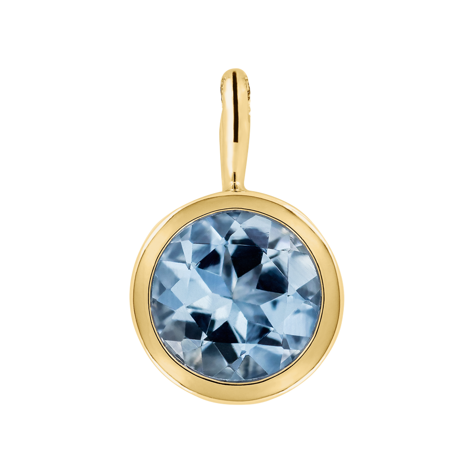 Pendant Bezel Aquamarine blue in Yellow Gold