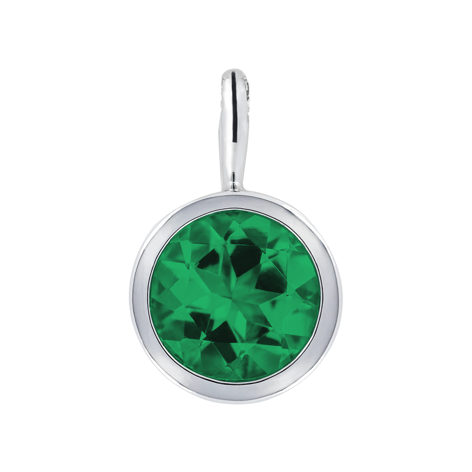 Pendant Bezel Emerald green in Platinum