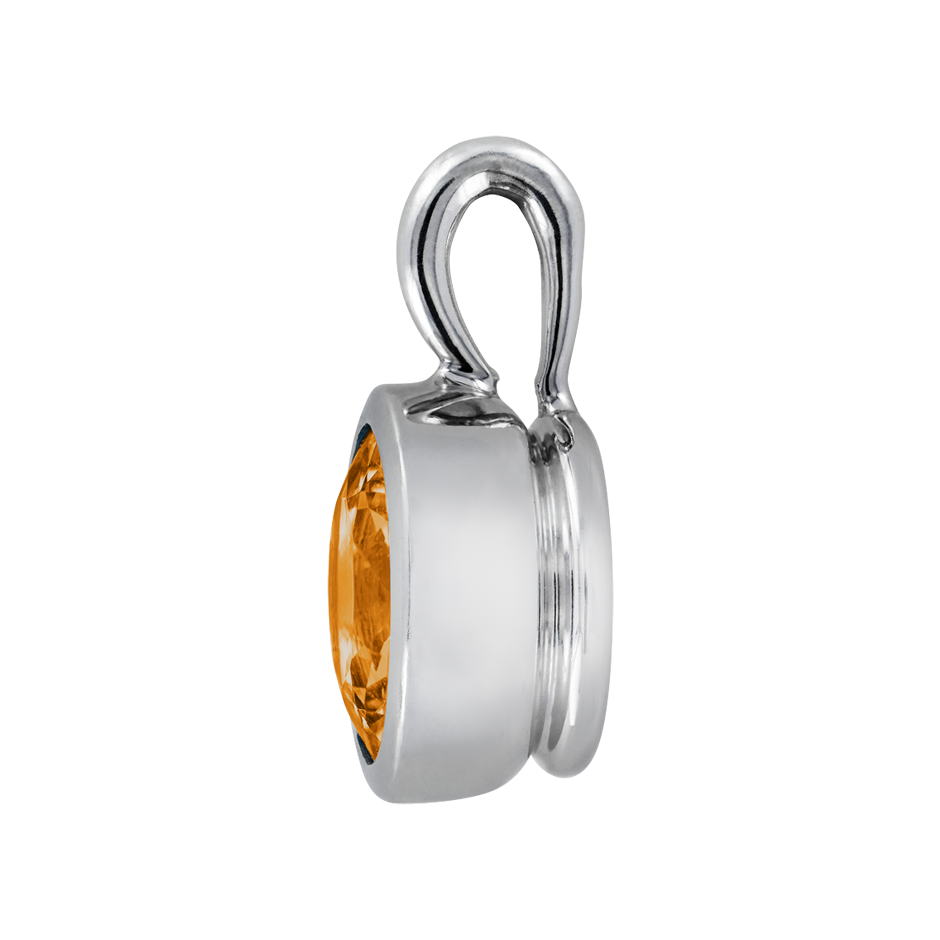 Pendant Bezel Madeira Citrine orange in White Gold