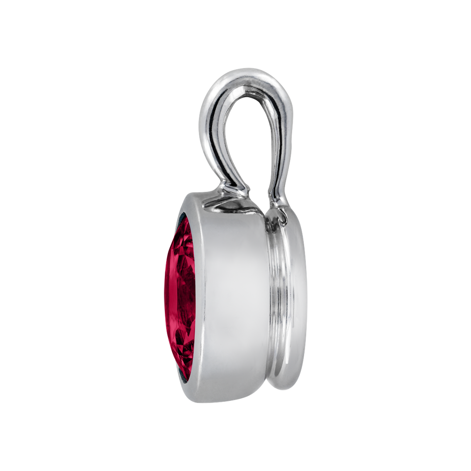 Pendant Bezel Ruby red in White Gold