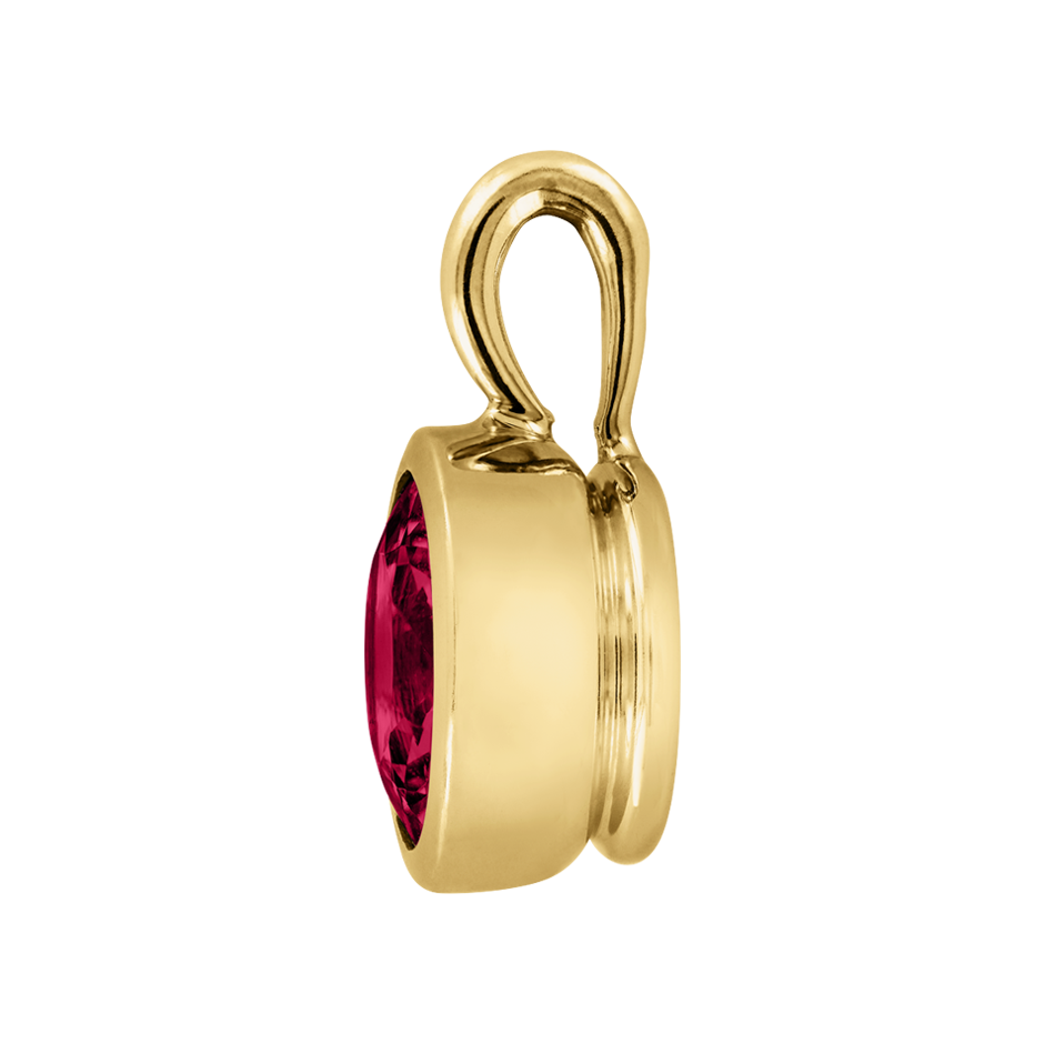 Pendant Bezel Ruby red in Yellow Gold