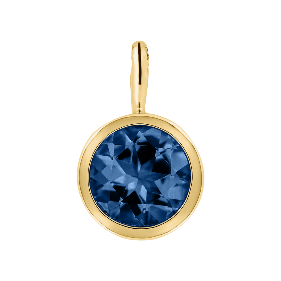 Pendant Bezel Sapphire blue in Yellow Gold