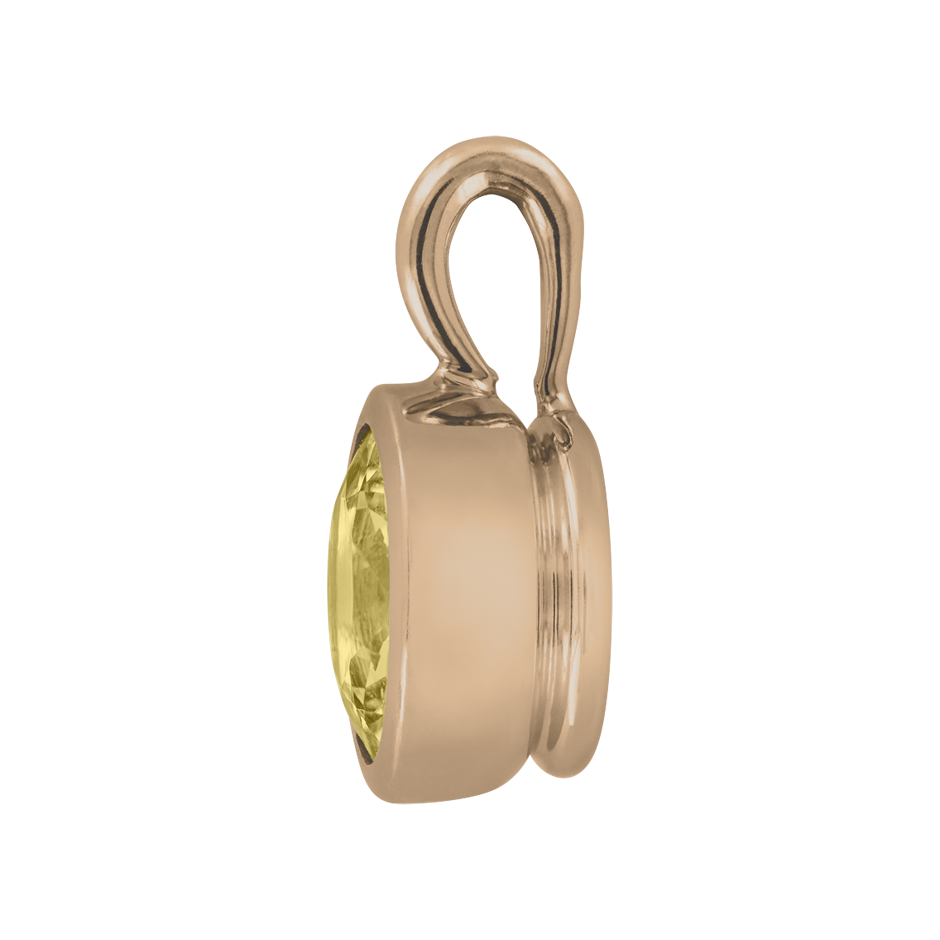Pendant Bezel Sapphire yellow in Rose Gold