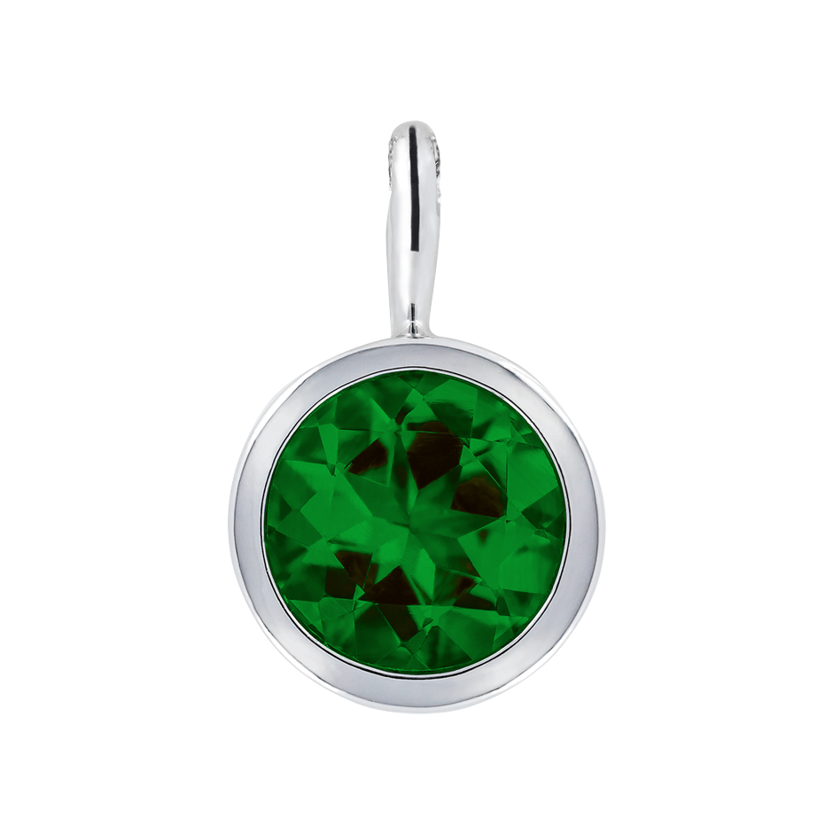 Pendant Bezel Tourmaline green in White Gold