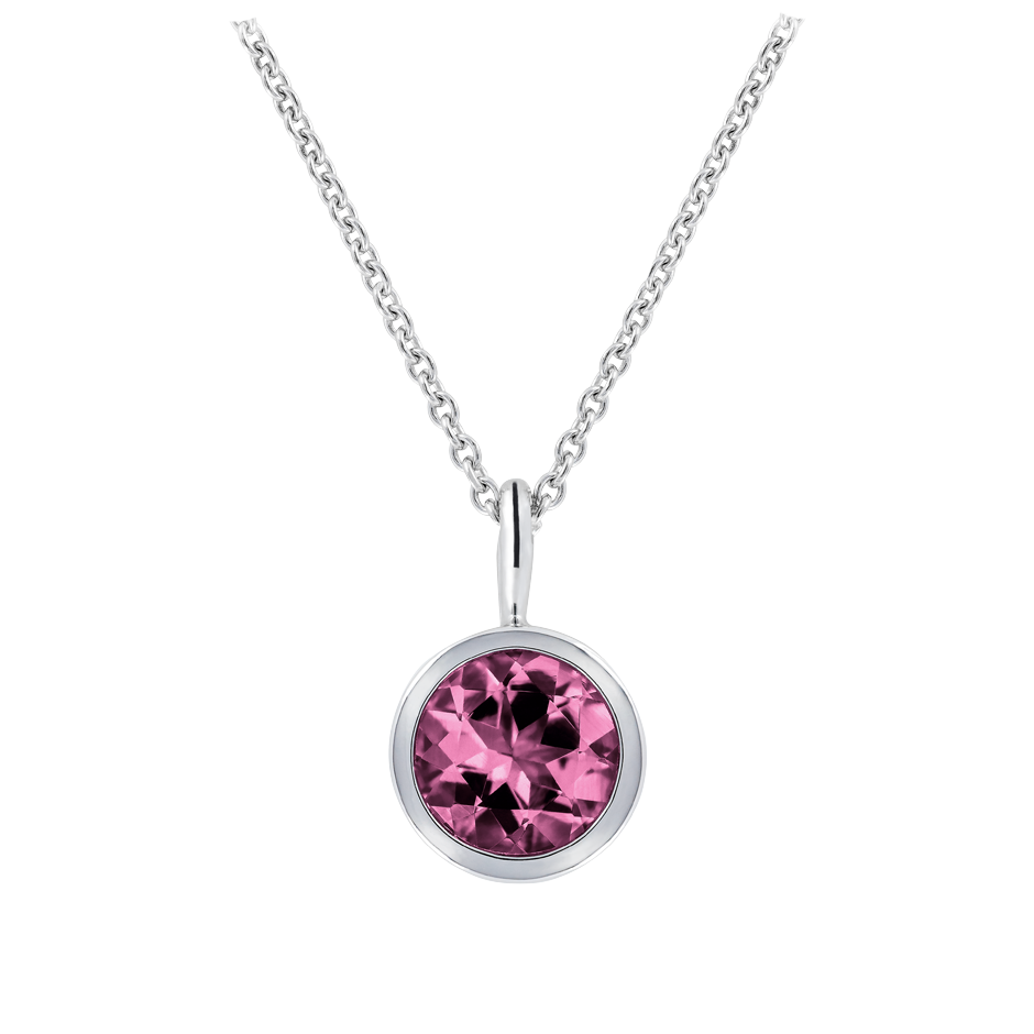 Pendant Bezel Tourmaline pink in White Gold