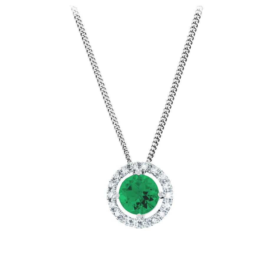Pendant Halo Emerald green in Platinum