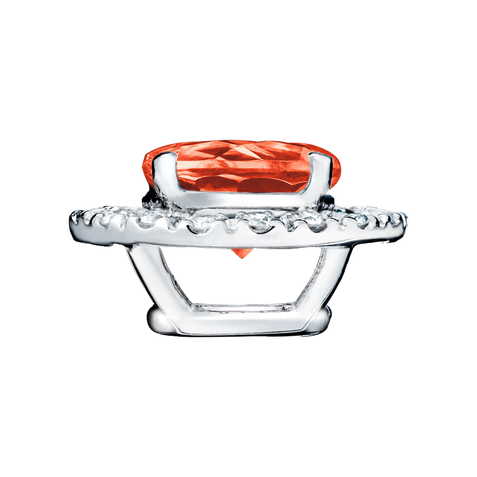 Pendant Halo Fire Opal orange in Platinum