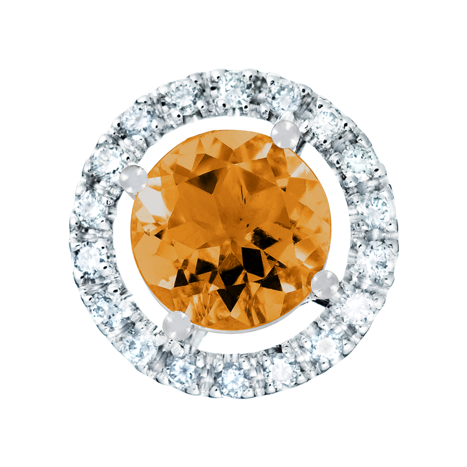 Pendant Halo Madeira Citrine orange in White Gold