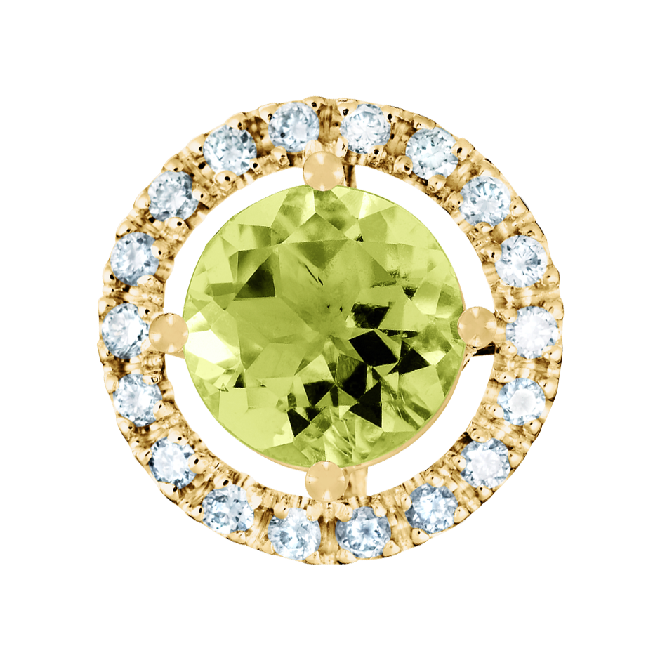 Pendant Halo Peridot grün in Yellow Gold