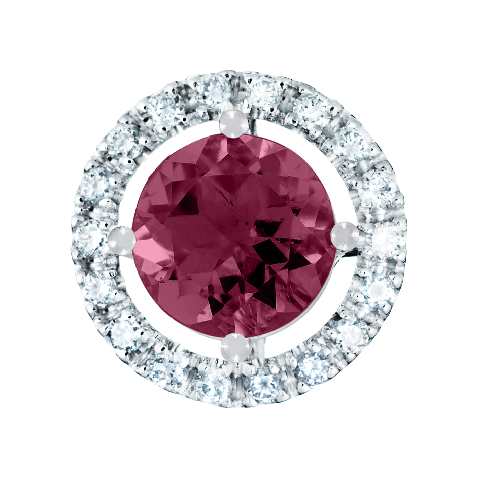 Pendant Halo Rhodolite red in White Gold