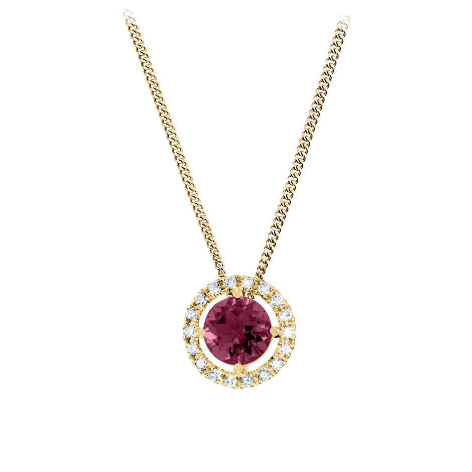 Pendant Halo Rhodolite red in Yellow Gold