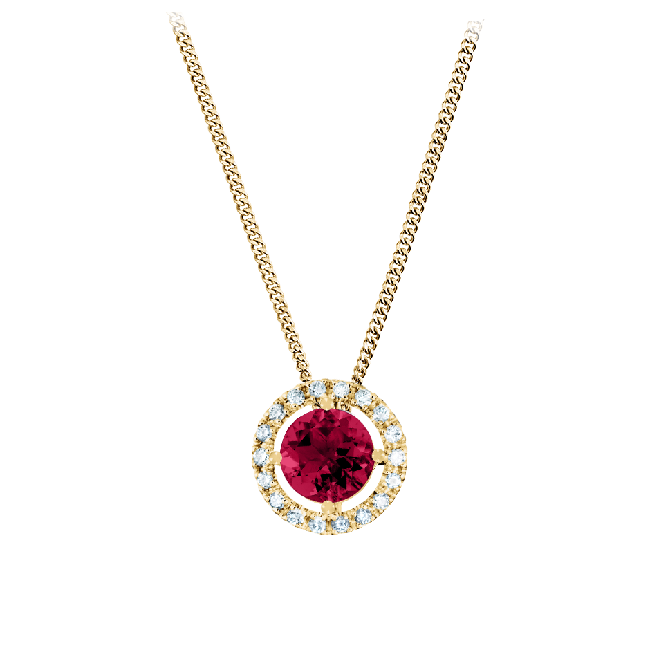Pendant Halo Ruby red in Yellow Gold