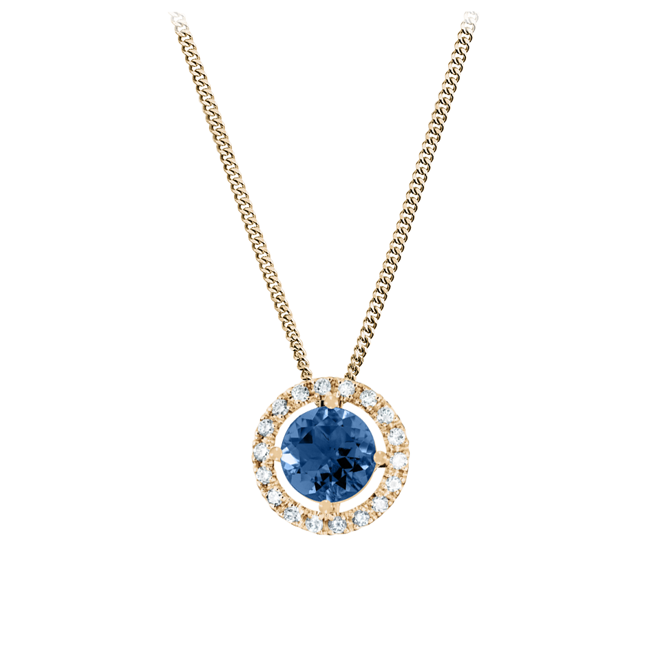 Pendant Halo Sapphire blue in Rose Gold