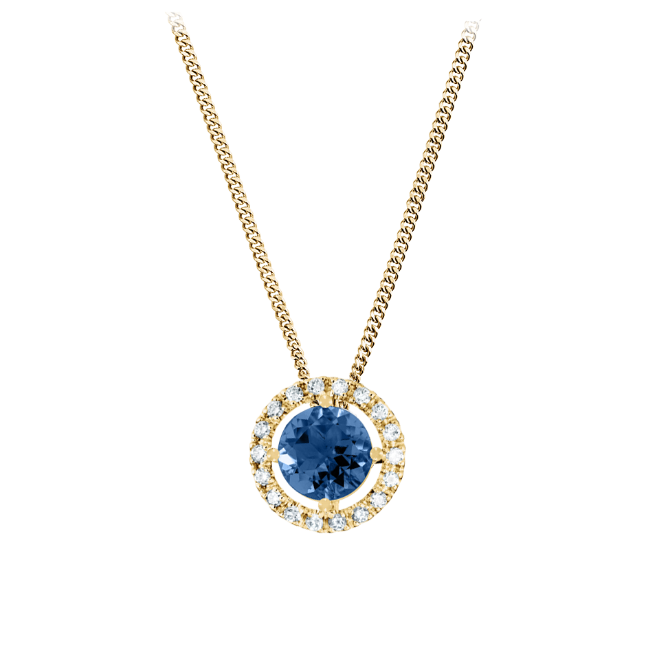 Pendant Halo Sapphire blue in Yellow Gold