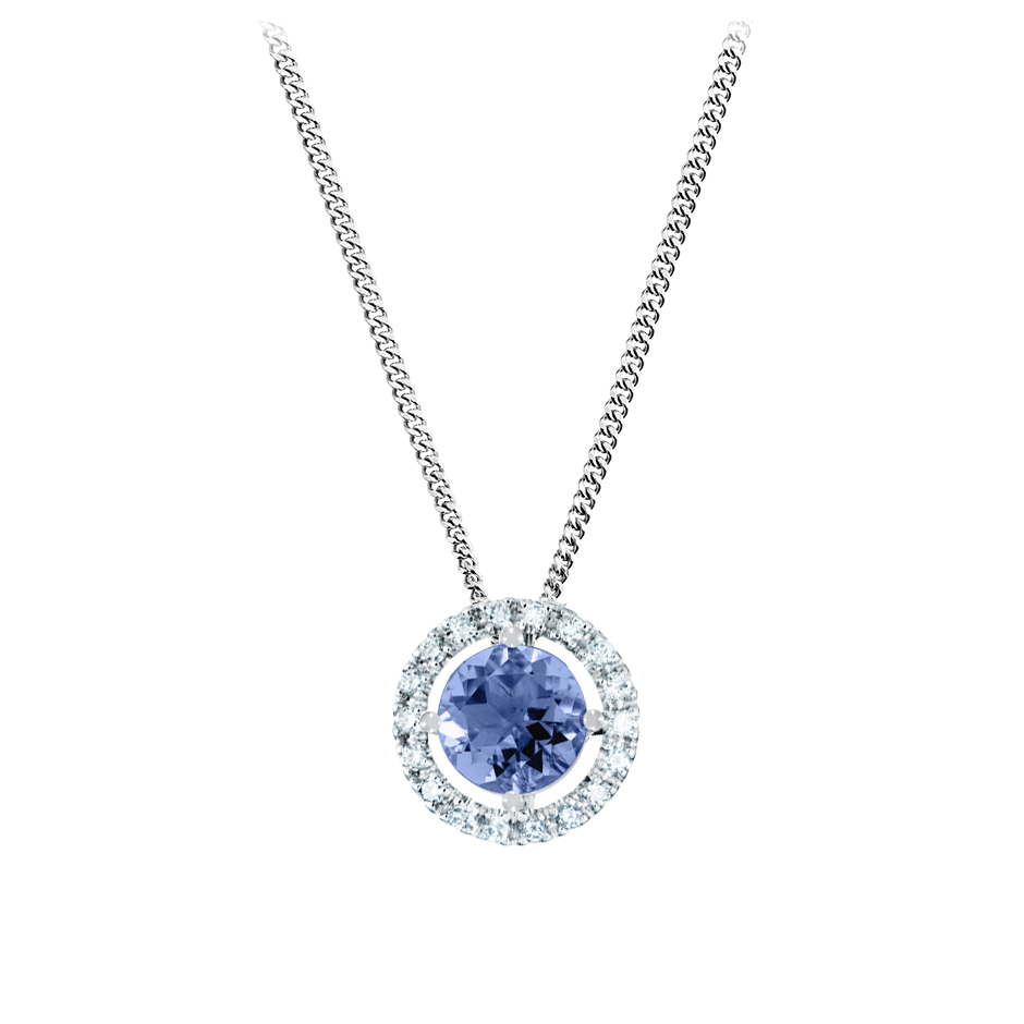 Pendant Halo Tanzanite blue in Platinum