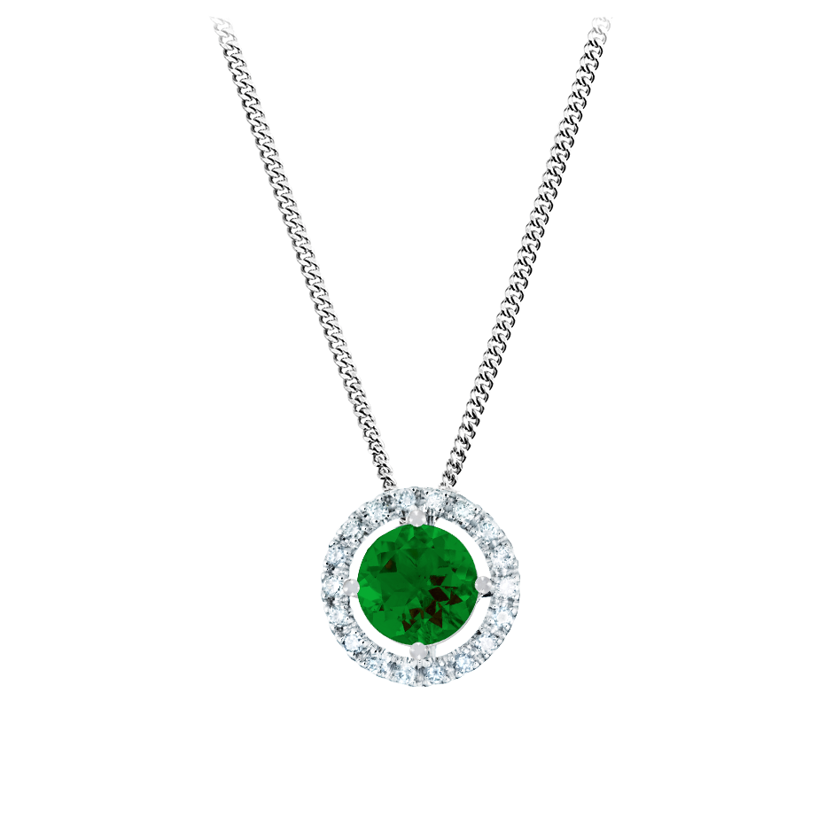 Pendant Halo Tourmaline green in White Gold