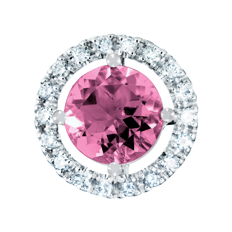Pendant Halo Tourmaline pink in Platinum