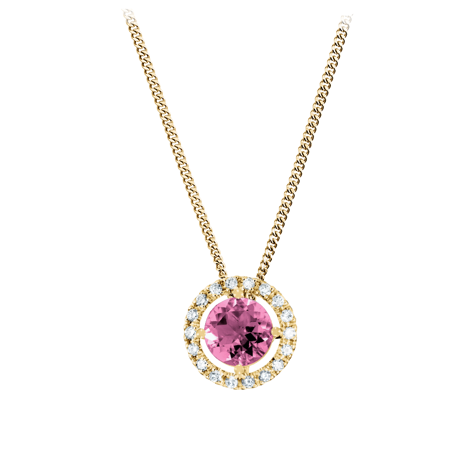 Pendant Halo Tourmaline pink in Yellow Gold