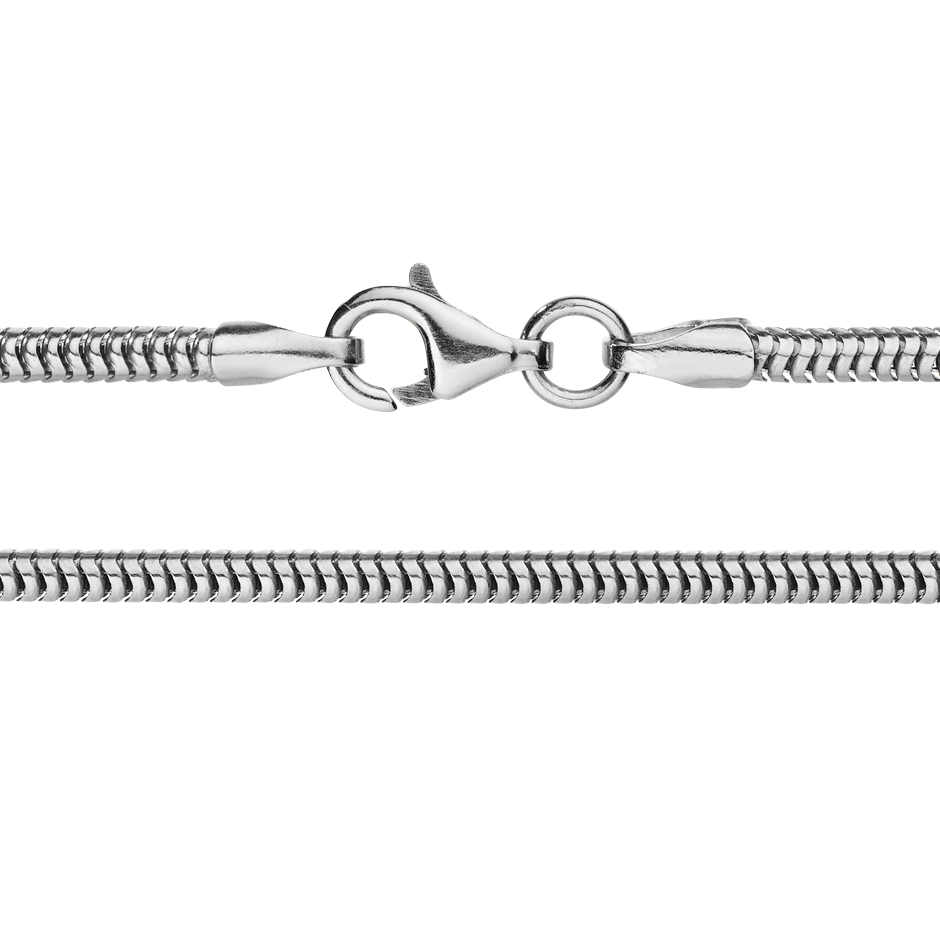 Snake Chain Necklace in White Gold